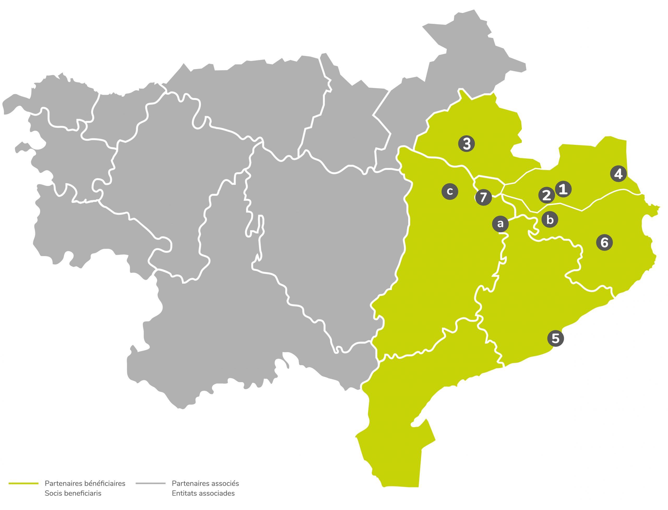 Carte du territoire et des partenaires de Floralab