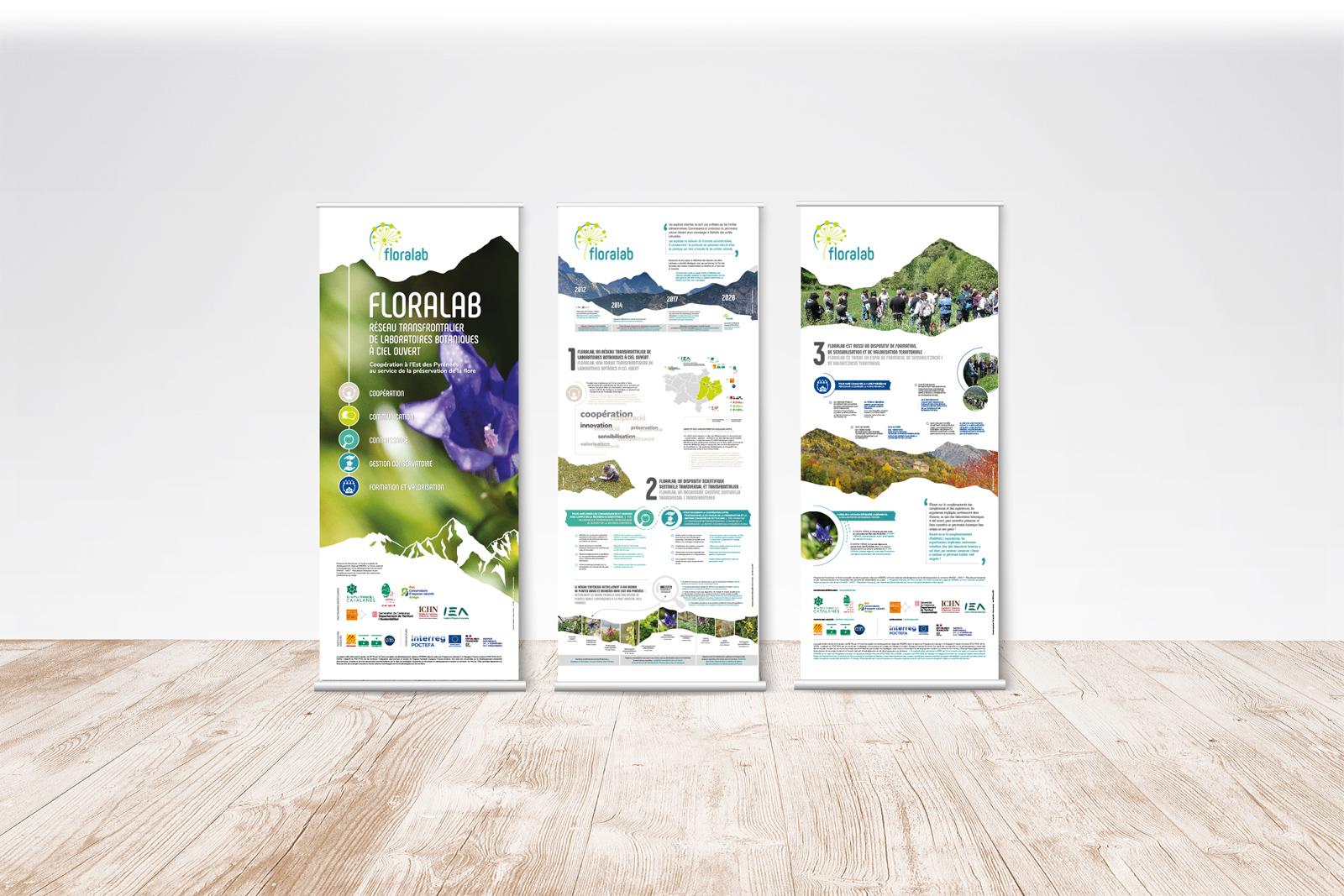 Vue des 3 roll-up de présentation du projet Floralab