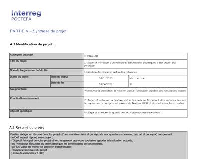 Visuel du dossier de candidature de Floralab au programme interreg poctefa